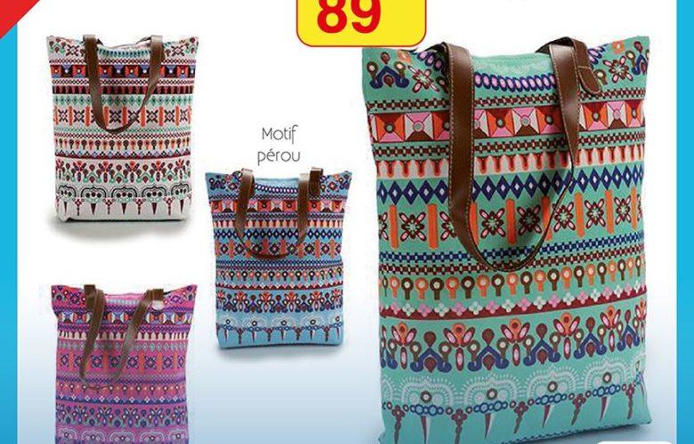 Promo Alpha55 Sac Shopper motif Pérou 89Dhs au lieu de 125Dhs