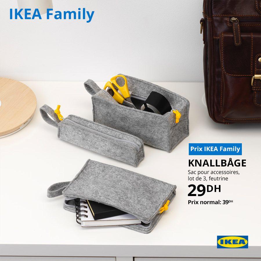 Soldes Ikea Family Lot de 3 Sac accessoires KNALLBAGE 29Dhs au lieu de 39Dhs