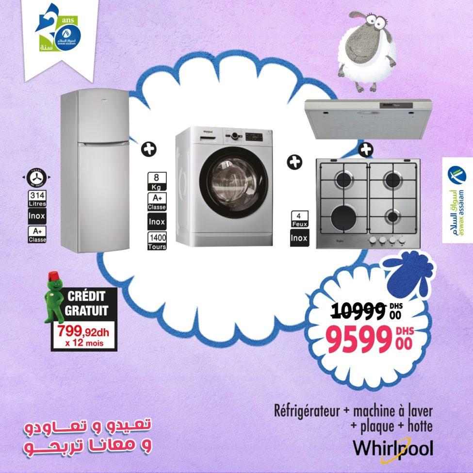 Soldes Aswak Assalam Pack Whirlpool 4 éléments 9599Dhs au lieu de 10999Dhs