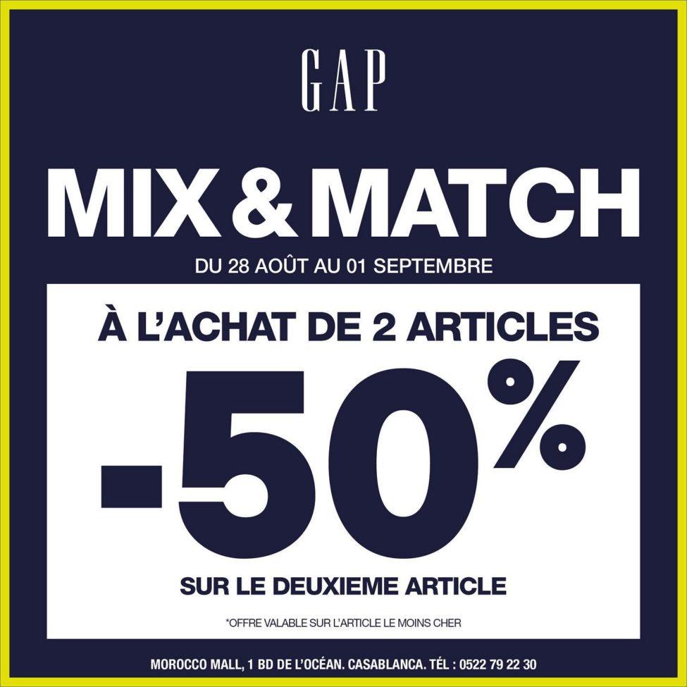 Soldes Gap Maroc -50% sur le 2ème Article acheté