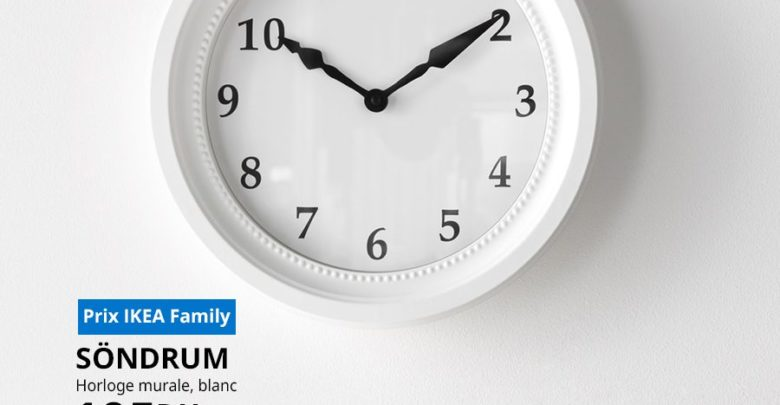 Photo of Soldes Ikea Family Horloge murale SONDRUM 105Dhs au lieu de 129Dhs