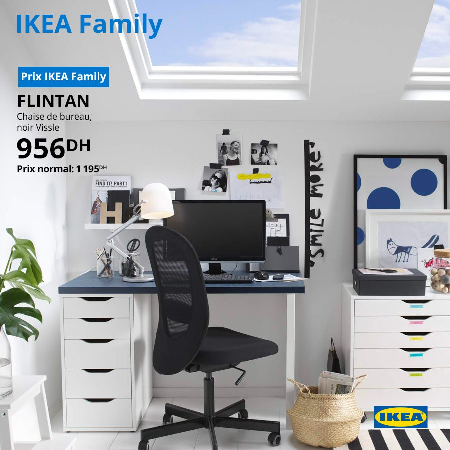 Soldes Ikea Family Chaise De Bureau Flintan 956dhs Au Lieu