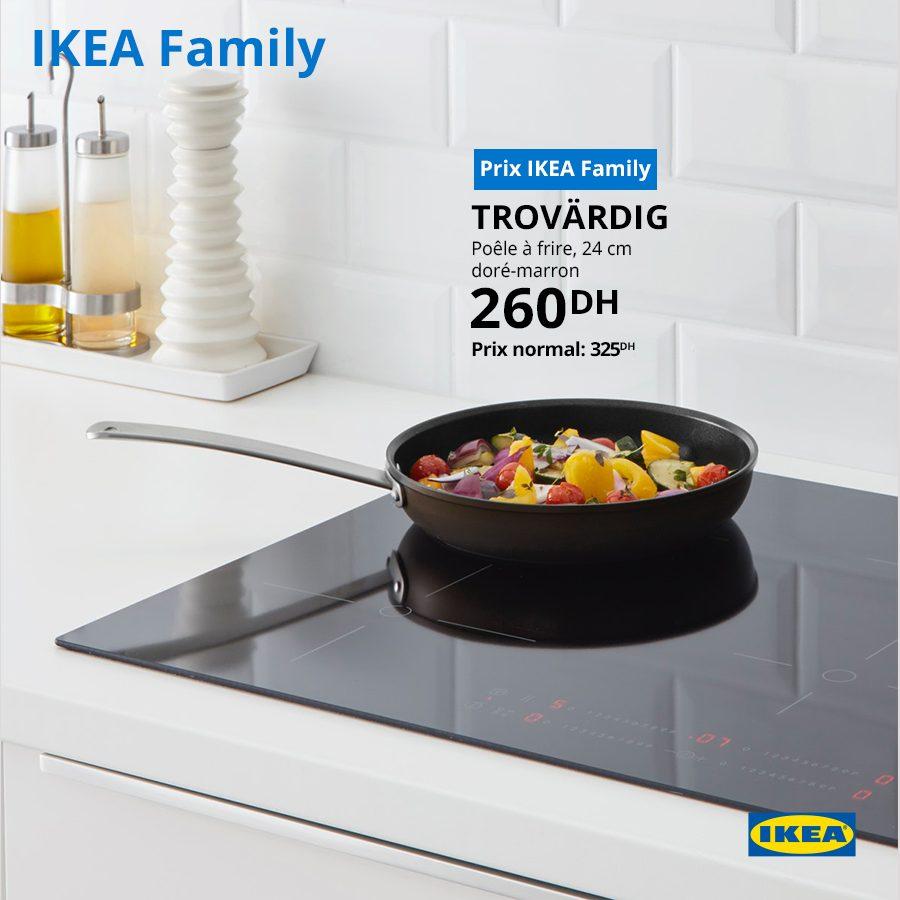 Soldes Ikea Family Poêle à frire 24cm doré-marron 260Dhs au lieu de 325Dhs