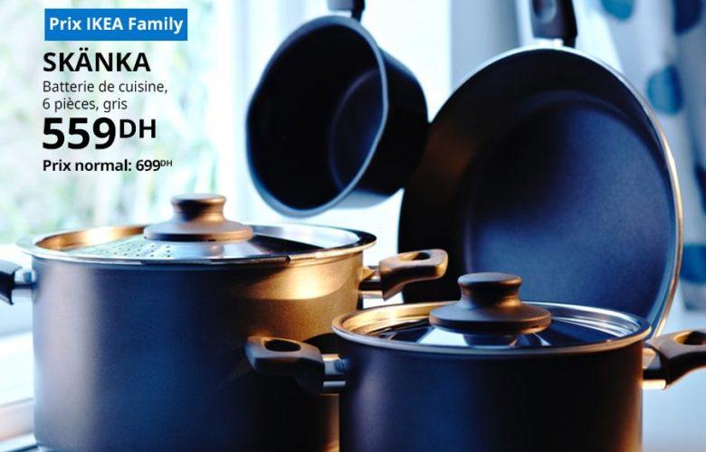 Solde Ikea Family Batterie de cuisine 6 pièces SKANKA 559Dhs au lieu de 699Dhs