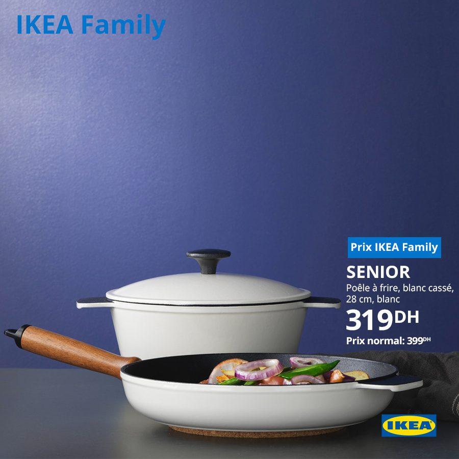 Promo Ikea Family Poêle à frire blanc casé SENIOR 319Dhs au lieu de 399Dhs