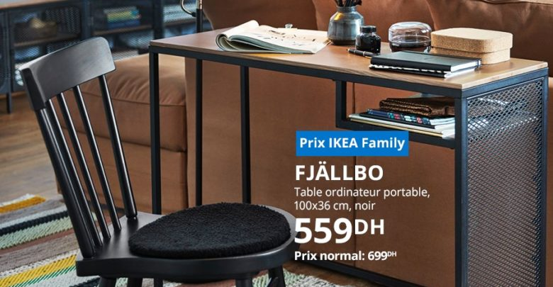 Photo of Soldes Ikea Family Table ordinateur portable noir FJÄLLBO 599Dhs au lieu de 699Dhs