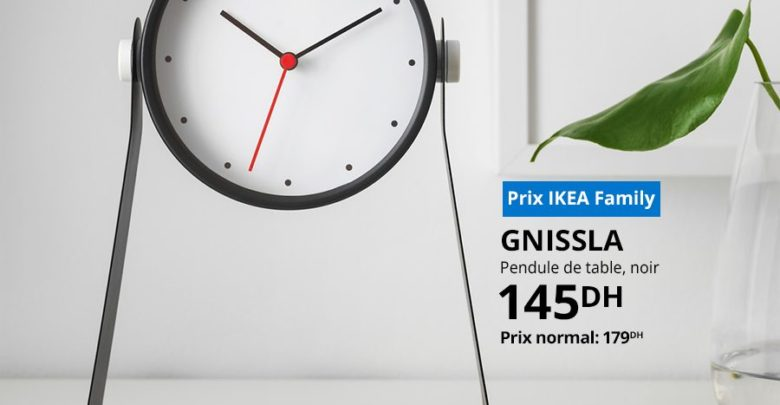 Photo of Soldes Ikea Family Pendule de table noir GNISSLA 145Dhs au lieu de 179Dhs