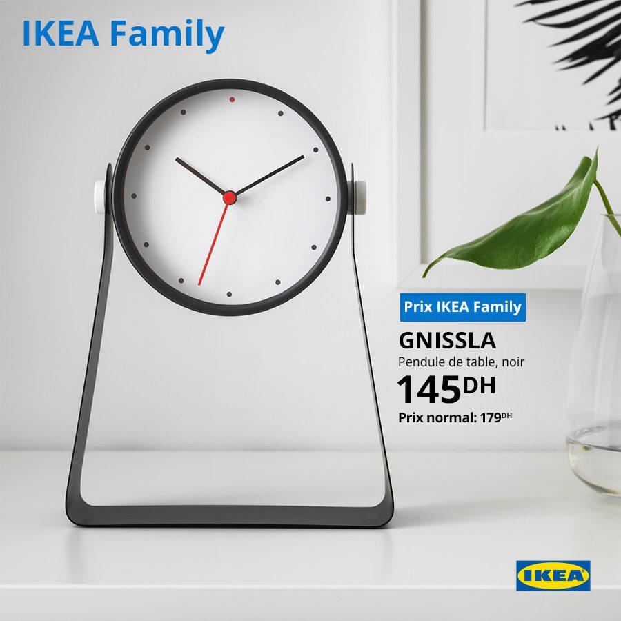 Soldes Ikea Family Pendule de table noir GNISSLA 145Dhs au lieu de 179Dhs