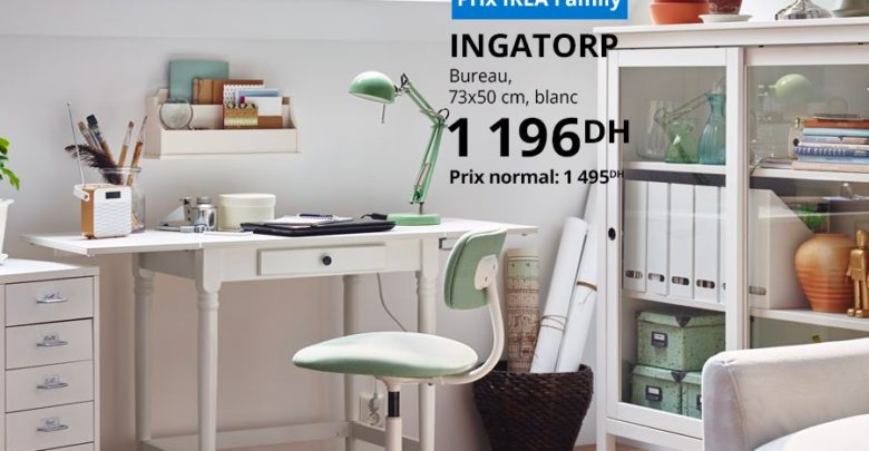Photo of Soldes Ikea Family Bureau INGATORP 1196Dhs au lieu de 1495Dhs