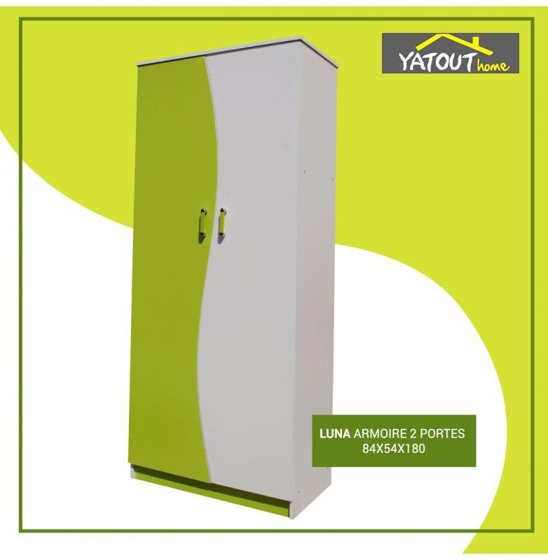 Promo Yatout Home Armoire LUNA 2 Portes 1490Dhs au lieu de 1990Dhs