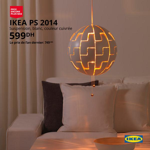 Soldes Ikea Maroc Suspension cuivrée 599Dhs au lieu de 749Dhs