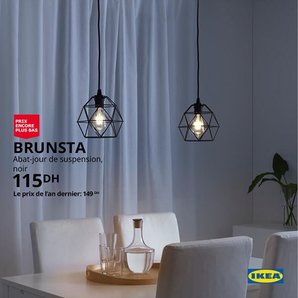 Soldes Ikea Maroc Abat-jour de suspension BRUNSTA 115Dhs au lieu de 149Dhs