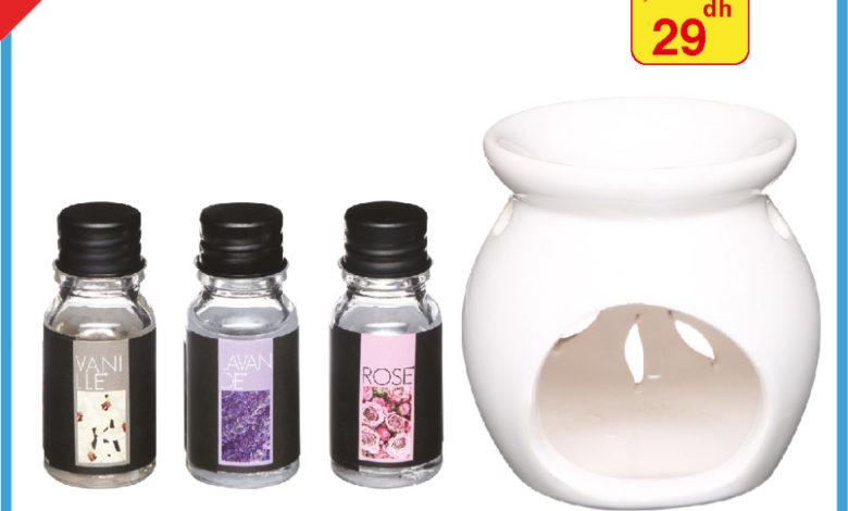 Promo Alpha55 Brûle Parfum + 3 huiles 29Dhs au lieu de 49Dhs
