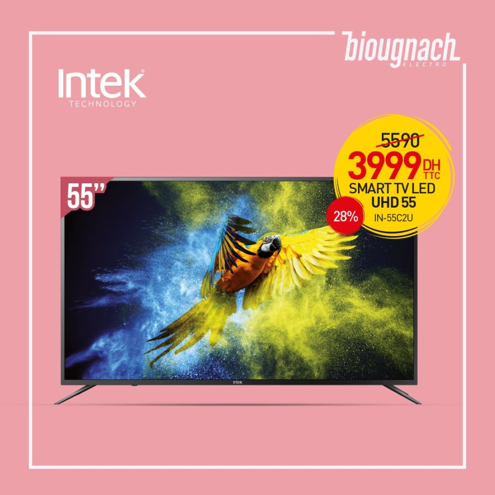 Liquidation Biougnach Smart TV INTEK 55° 4K 3999Dhs au lieu de 5590Dhs