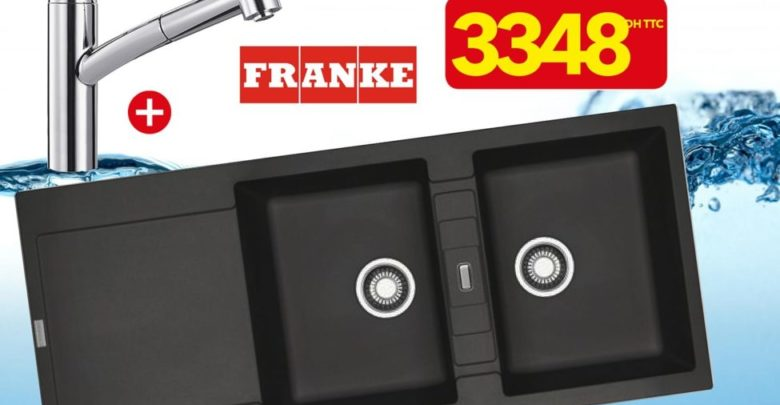 Photo of Promo Bricoma Évier 2 égouttoirs graphite + mitigeur FRANKE 3348Dhs au lieu de 4780Dhs