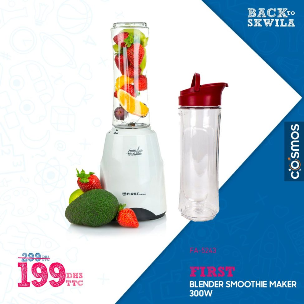 Promo Cosmos Electro Blender Smoothie FIRST 199Dhs au lieu de 299Dhs