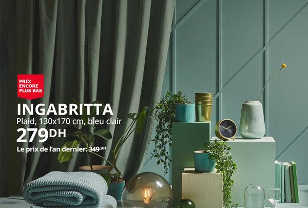 Photo of Promo Ikea Maroc Plaid INGABRITTA 130x170cm 279Dhs au lieu de 349Dhs