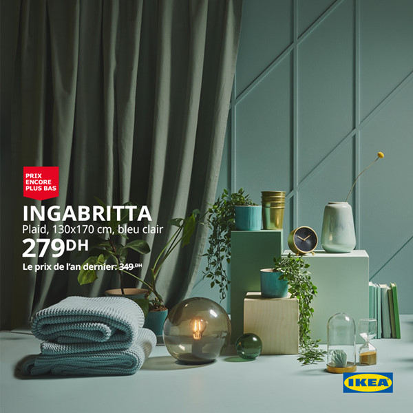 Promo Ikea Maroc Plaid INGABRITTA 130x170cm 279Dhs au lieu de 349Dhs