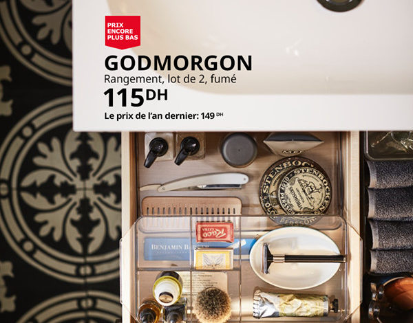 Photo of Soldes Ikea Maroc Lot de 2 Rangements GODMORGON 115Dhs au lieu de 149Dhs