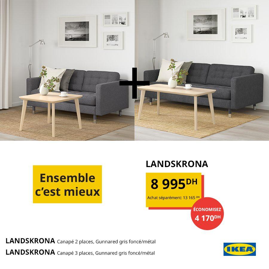 Promo Ikea Maroc Ensemble Canapés LANDSKRONA 8995Dhs