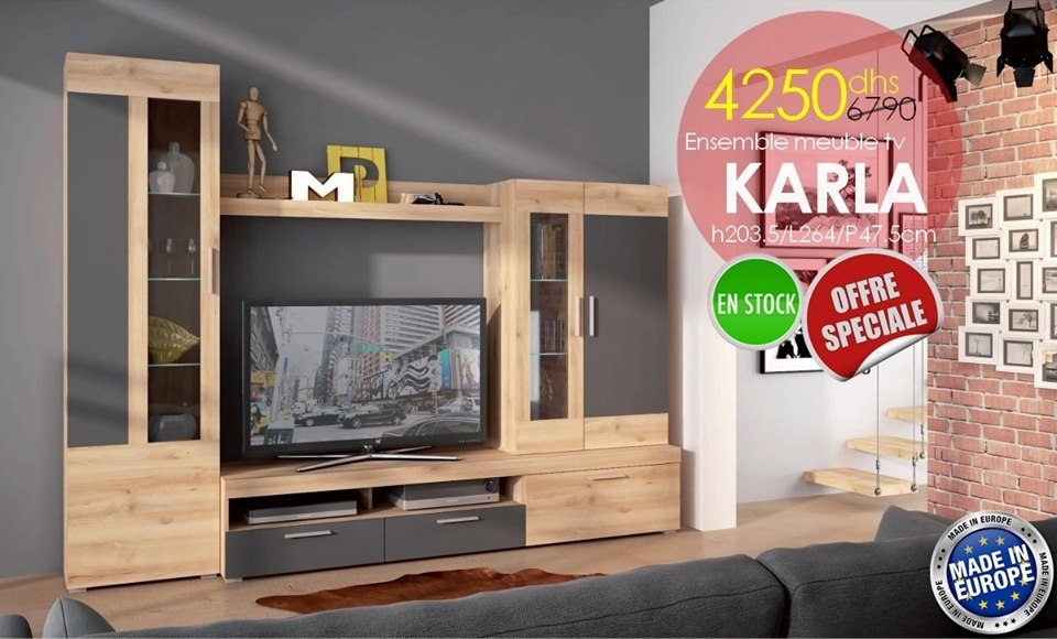 Solde Azura Home Ensemble meuble tv KARLA 264cm 4290Dhs au lieu de 6789Dhs