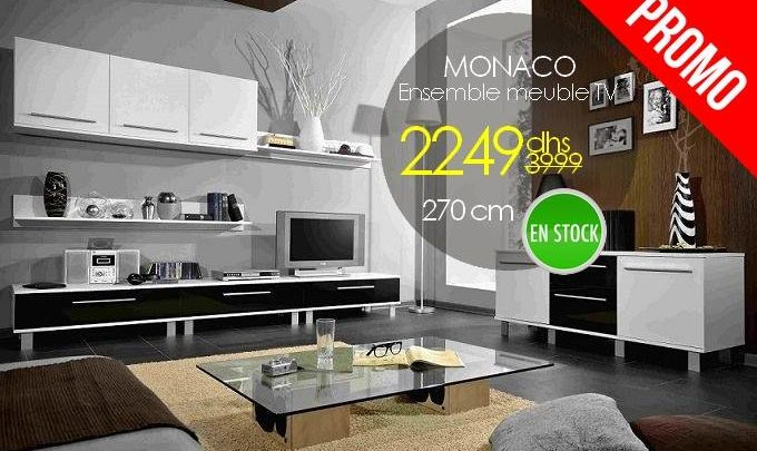 Photo of Soldes Azura Home Ensemble meuble TV MONACO 270cm 2249Dhs au lieu de 3990Dhs