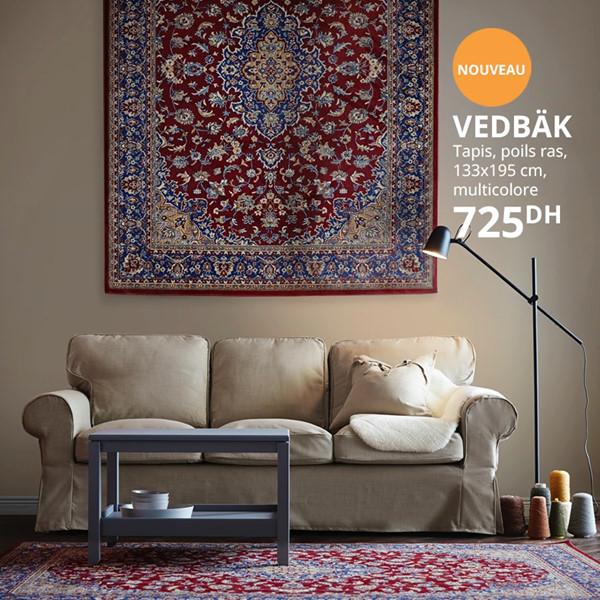 Nouveau chez Ikea Maroc Tapis traditionnel 133x195cm VEDBÄK 725Dhs