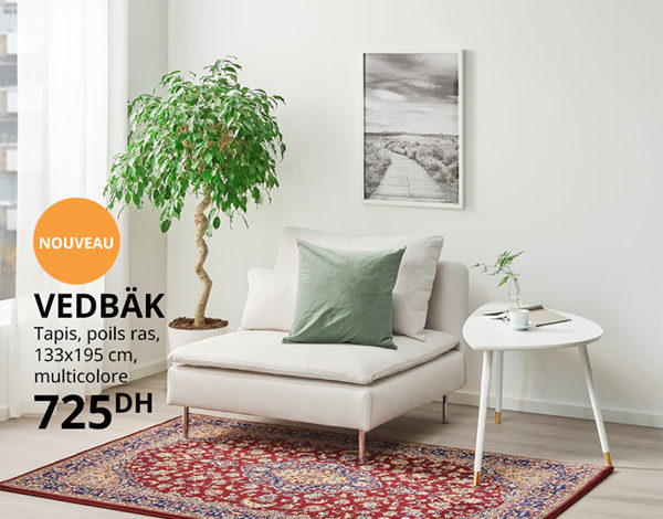 Photo of Nouveau chez Ikea Maroc Tapis traditionnel 133x195cm VEDBÄK 725Dhs