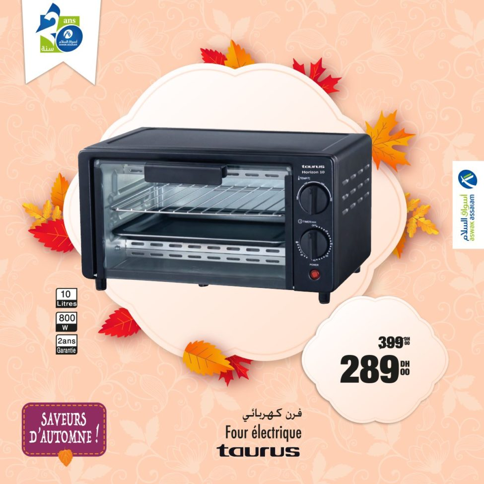 Promo Aswak Assalam Mini four électrique TAURUS 289Dhs au lieu de 399Dhs