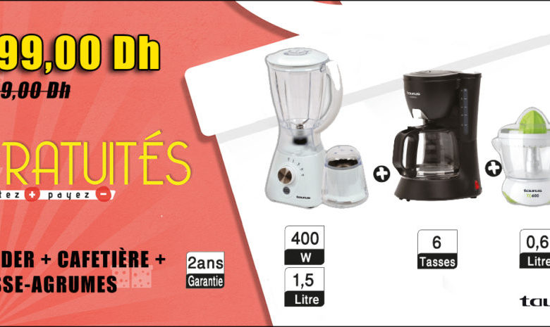 Photo of Promo Aswak Assalam BLENDER + CAFETIÈRE + PRESSE-AGRUMES 399Dhs au lieu de 689Dhs