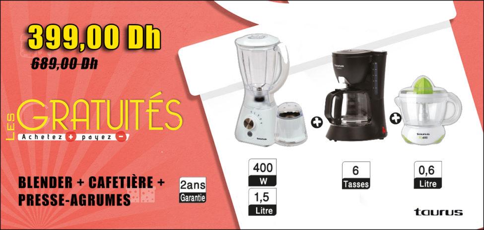 Promo Aswak Assalam BLENDER + CAFETIÈRE + PRESSE-AGRUMES 399Dhs au lieu de 689Dhs