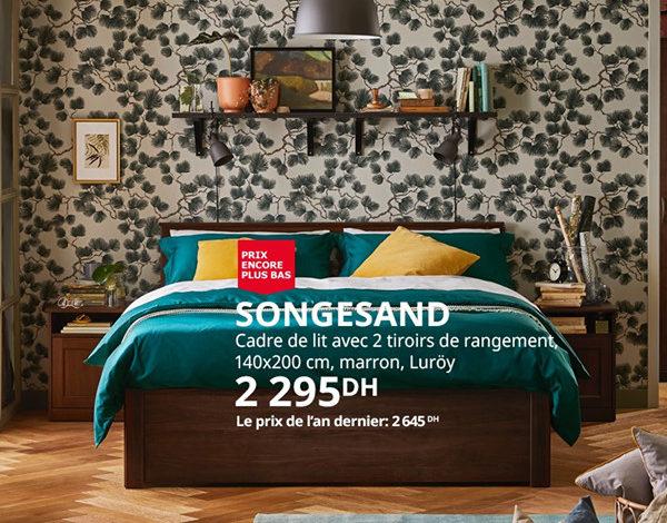Photo of Soldes Ikea Maroc Cadre de lit avec 2 tiroirs de rangement marron SONGESAND 2295Dhs au lieu de 2645Dhs
