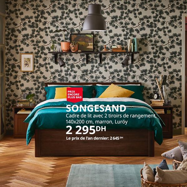 Soldes Ikea Maroc Cadre de lit avec 2 tiroirs de rangement marron SONGESAND 2295Dhs au lieu de 2645Dhs