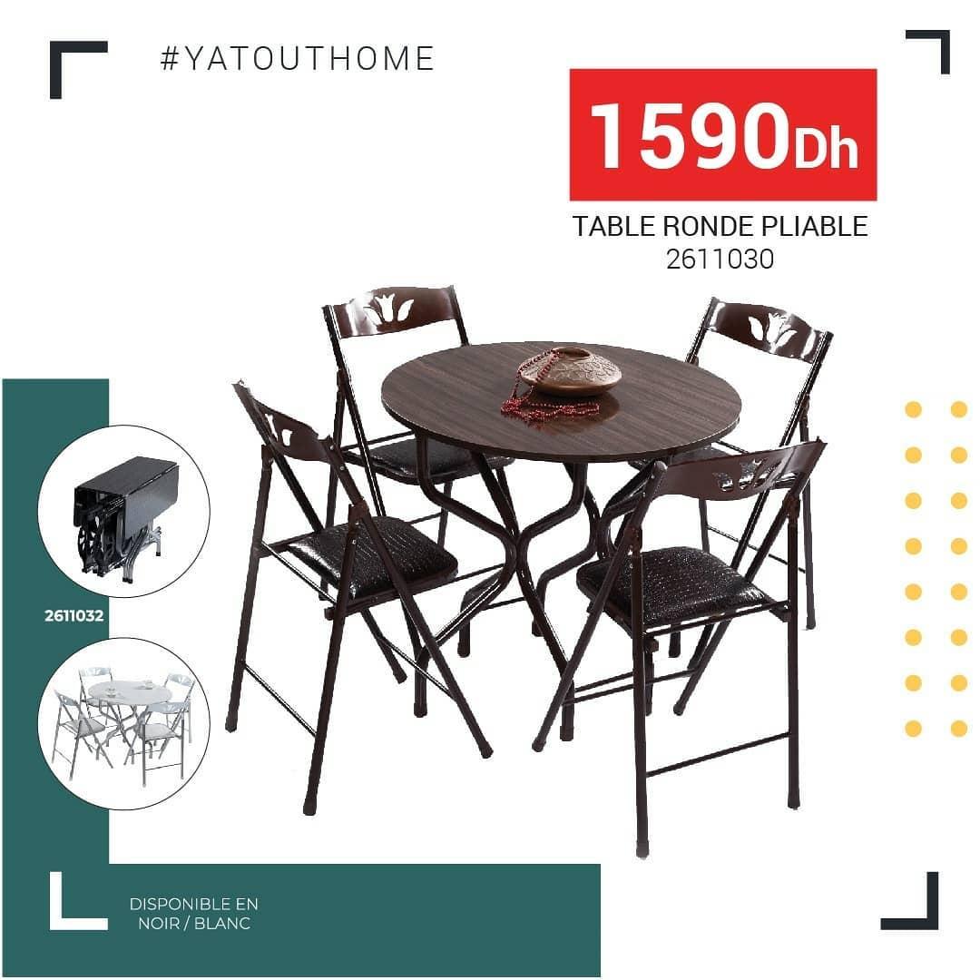 Nouveau chez Yatout Home Table ronde pliable + 4 chaises 1590Dhs