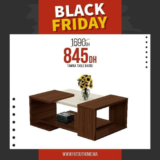 Black Friday Yatout Home Table Basse TAMISA 845Dhs au lieu de 1690Dhs