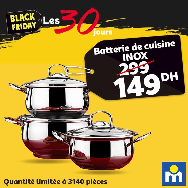 Black Friday Marjane Batterie de cuisine inox 149Dhs au lieu de 299Dhs