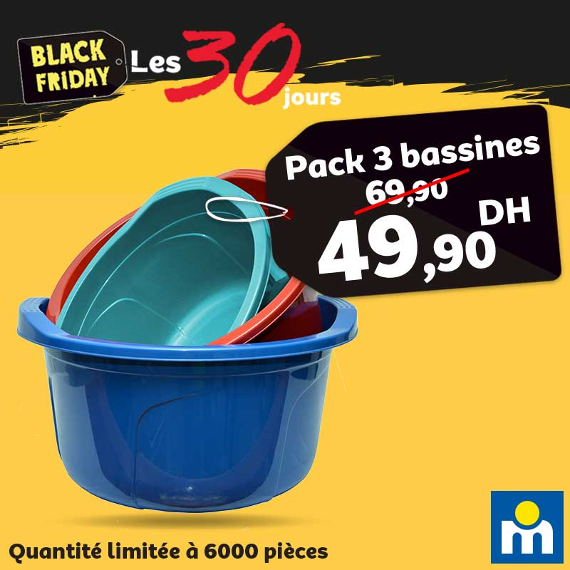 Black Friday Marjane Pack 3 Bassines 49.90Dhs au lieu de 69.90Dhs