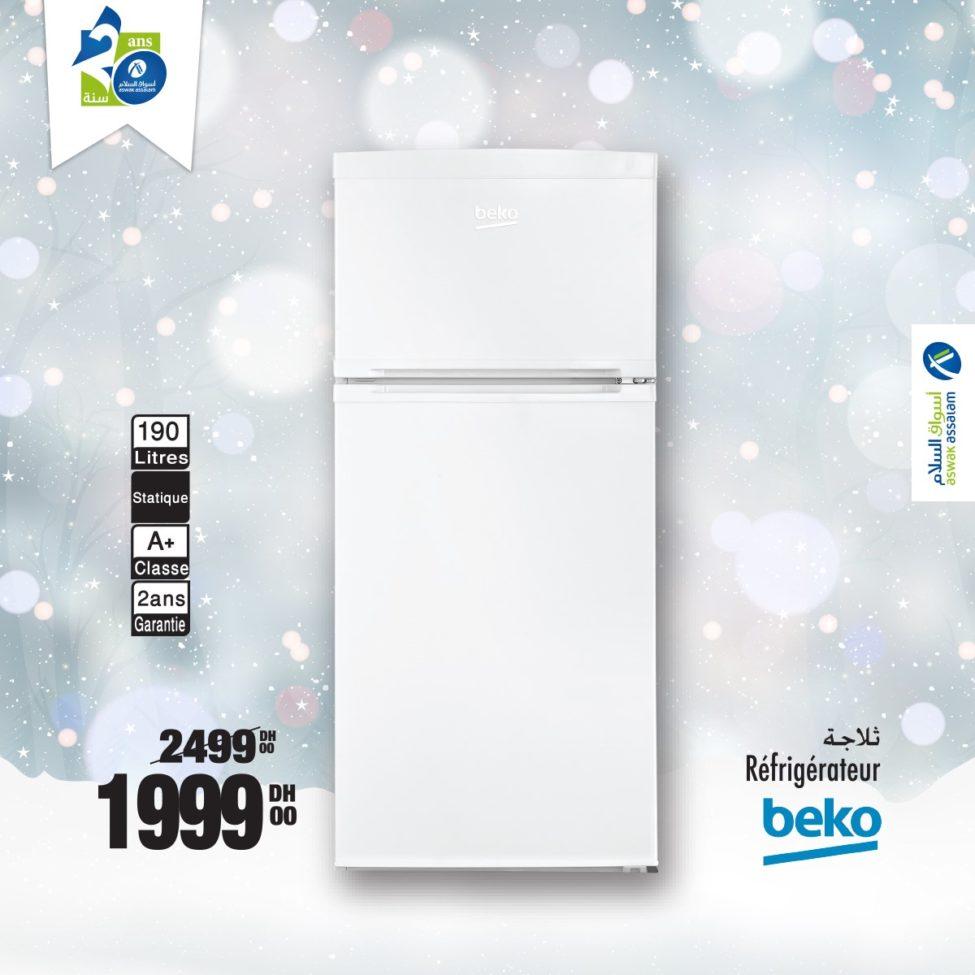 Soldes Aswak Assalam Réfrigérateur 190 Litres BEKO 1999Dhs au lieu de 2499Dhs