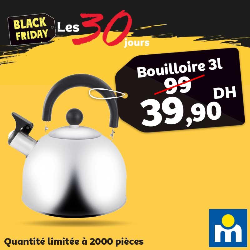 Black Friday Marjane Bouilloire 3 litres 39.90Dhs au lieu de 99Dhs