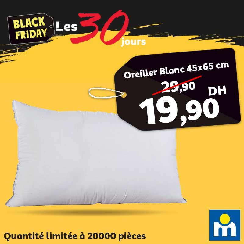 Black Friday Marjane Oreiller Blanc 45x65cm 19.90Dhs au lieu de 29.90Dhs