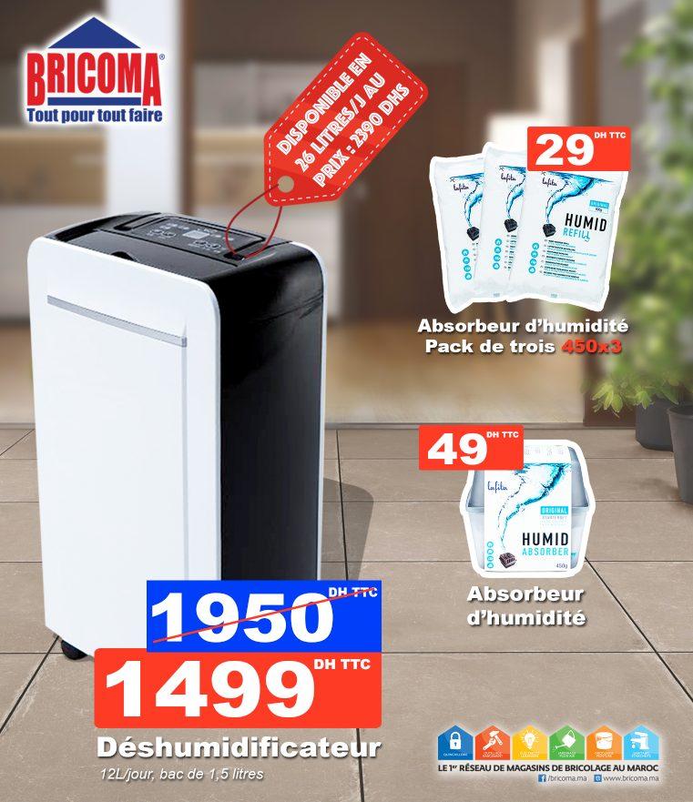 Promo Bricoma Déshumidificateur 12L/jour bac 1.5L 1499Dhs au lieu de 1950Dhs
