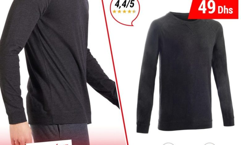 Photo of Soldes Decathlon Sweat 100 Pilates GYM douce homme 49Dhs au lieu de 89Dhs