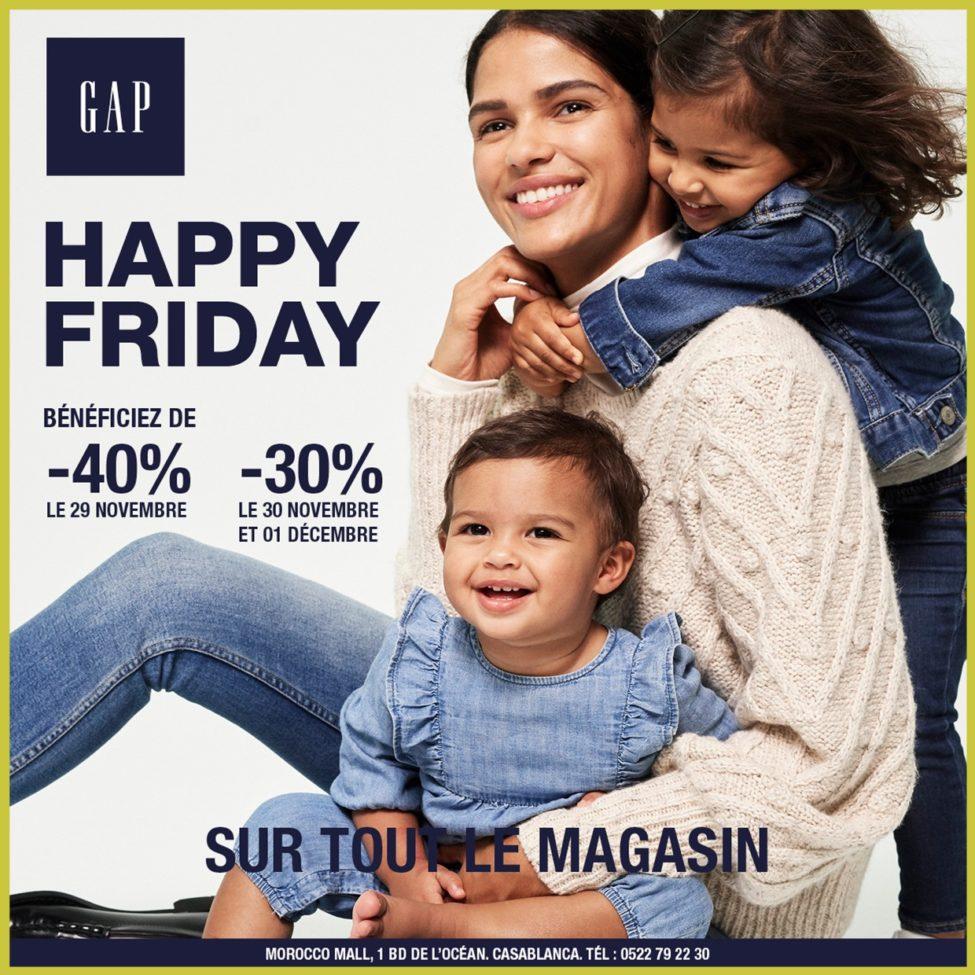 Weekend Happy Friday Gap Maroc -40% le Vendredi et -30% le samedi et dimanche