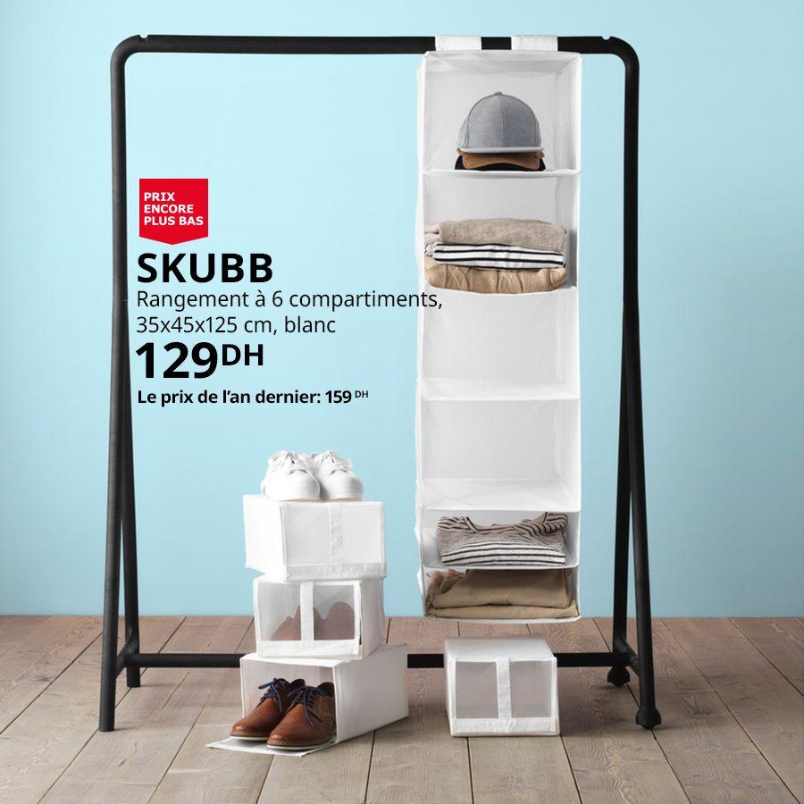 Promo Ikea Maroc Rangement 6 compartiments SKUBB 129Dhs au lieu de 159Dhs