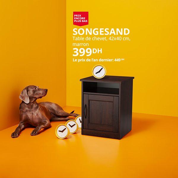 Promo Ikea Maroc Table chevet marron SONGESAND 399Dhs au lieu de 449Dhs