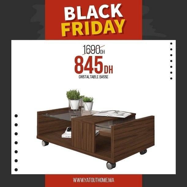 Black Friday Yatout Home Table basse CRISTAL 845Dhs au lieu de 1690Dhs