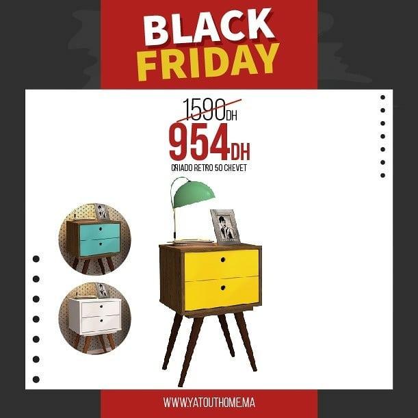 Black Friday Yatout Home Chevet CRIADO RETRO 50 954Dhs au lieu de 1590Dhs