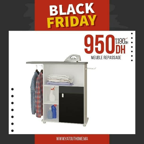 Offre Black Friday Yatout Home Meuble Repassage 950Dhs au lieu de 1190Dhs