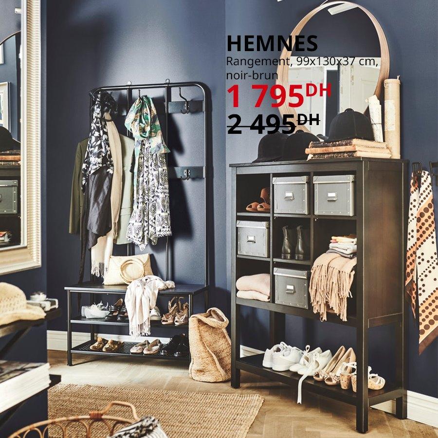 Soldes Ikea Maroc Rangement noir-brun HEMNES 1799Dhs au lieu de 2495Dhs  Dimension: 99x130x37cm
