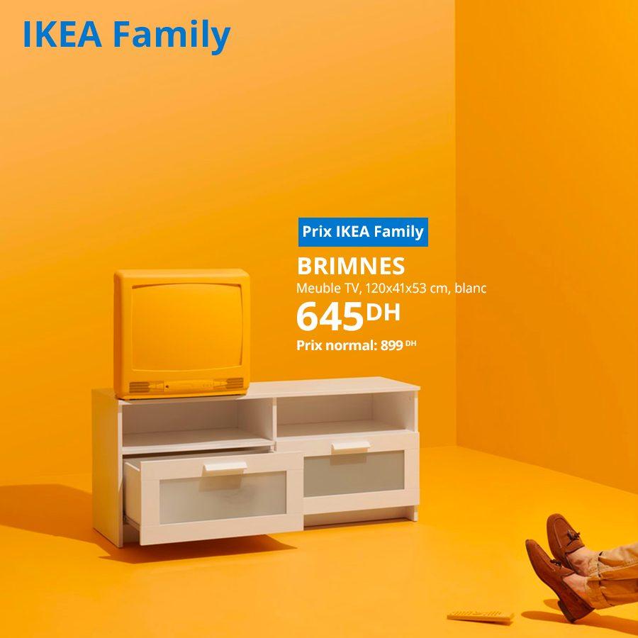 Soldes Ikea Family Meuble TV Blanc BRIMNES 645Dhs au lieu de 899Dhs